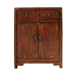 Oriental Chinese Distressed Brown Side Table Cabinet