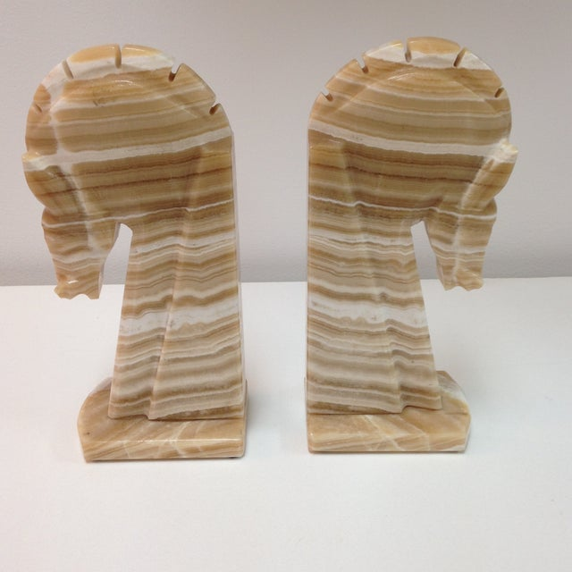 Large Alabaster Horse Bookends - Pair - Image 4 of 4