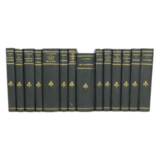French Art Deco Leather-Bound Books - Set of 14