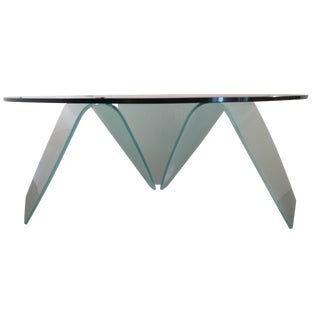 Organic-Shape Frosted Glass Coffee Table