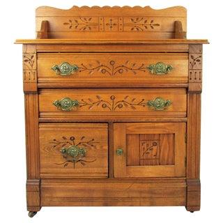 Antique Oak Stand Dresser W/ Spoon Carved Decoration