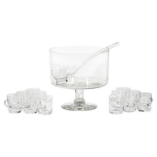 1950s Glass Footed Punch Bowl Set, Set of 14
