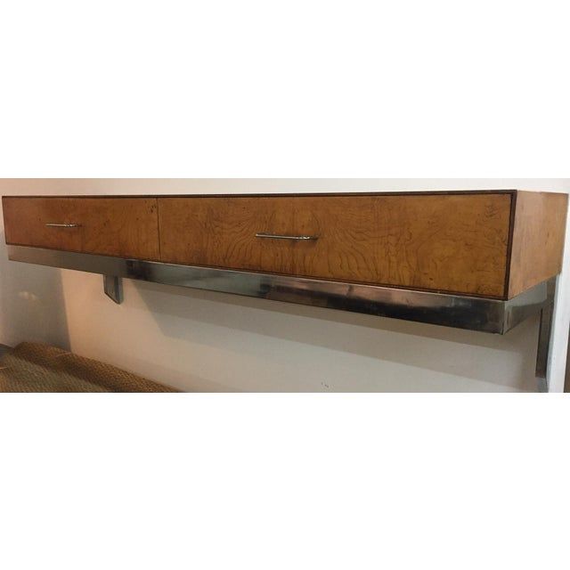 Mid-Century Burlwood Floating Console Table, Desk - Image 6 of 10
