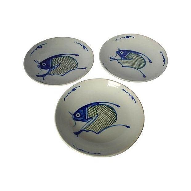Image of Vintage Asian Koi Serving Bowls - Set of 3