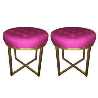 Pink & Brass Stools - A Pair