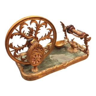 18th Century Tabletop Spinning Wheel of Gilt Bronze