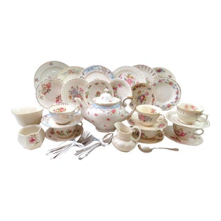 Vintage Mismatched Tea & Dessert 41-Piece Set - Servings of 6