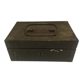 Vintage Green Metal Storage Box