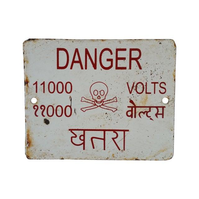 Image of Enamel Skull Electricity Warning Sign