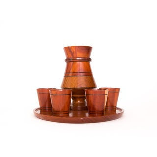 1970s Vintage Wooden Cocktail Serving Set