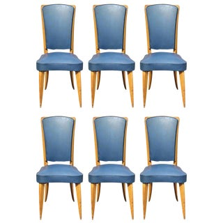Leleu Style French Art Deco Solid Sycamore Dining Chairs - Set of 6