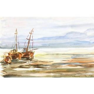 Original Watercolor Painting, Waiting for the Tide