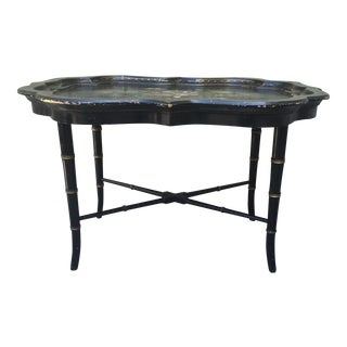 Carved Wood Painted Tray Table