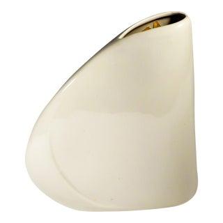 1980s Haeger White Art Deco Asymmetrical Vase