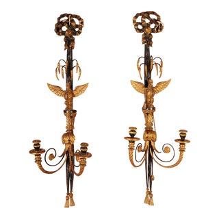 Hand Carved French Empire Eagle Wall sconces Candle holders-Pair