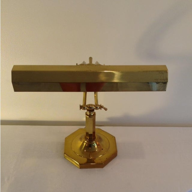 Image of Brass Faceted Octagonal Library Lamp