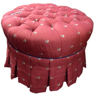 Ethan Allen Red Ottoman With Roosters