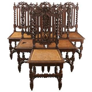 Antique Renaissance-Style Hunt Chairs - Set of 6