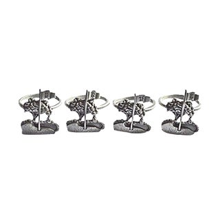 Golf Flag Pewter Napkin Rings - Set of 4