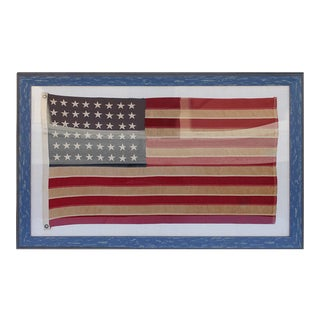 Early 20th Century 48 Star Ships Framed Flag