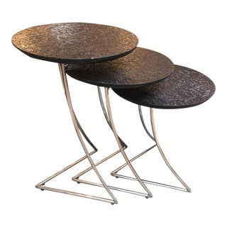 Black Embossed Leather Nesting Tables - Set of 3