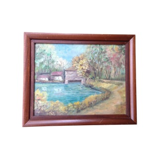 Vintage Country Landscape Oil Painting