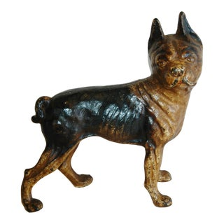 1940s Iron Boston Terrier Dog Figurine Doorstop