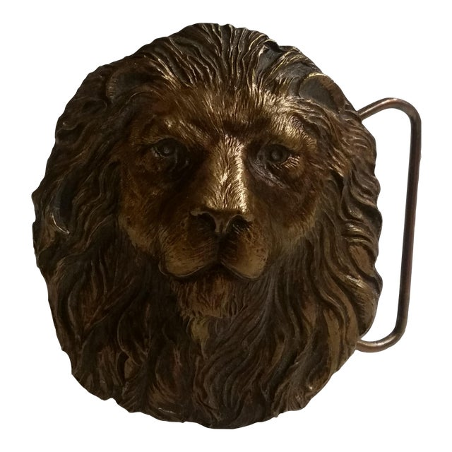 Image of Vintage Lion's Head Belt Buckle