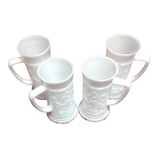 Collection of Milk Glass Mugs - Set of 4