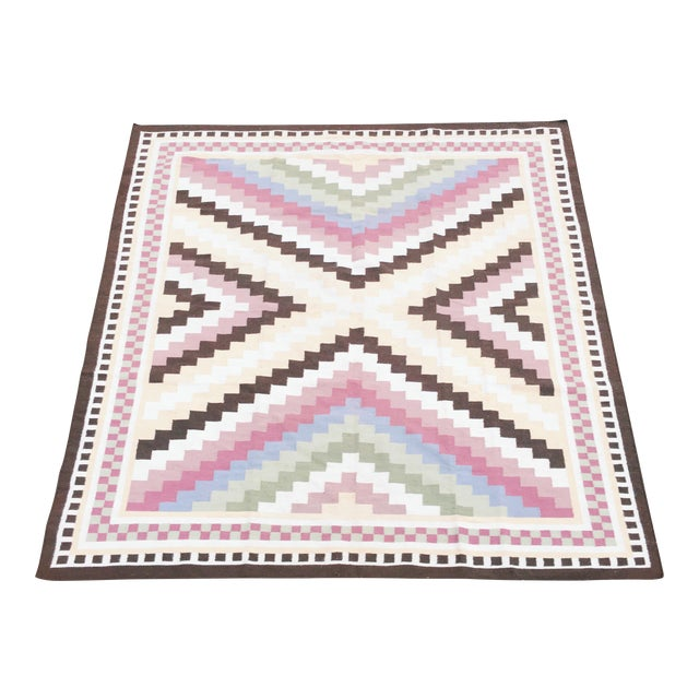 Multi-Colored Geometric Dhurrie Rug - 8′ × 10′ - Image 1 of 3