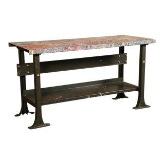 Rustic Vintage Industrial Artist's Metal Work Table - WorkBench - Desk