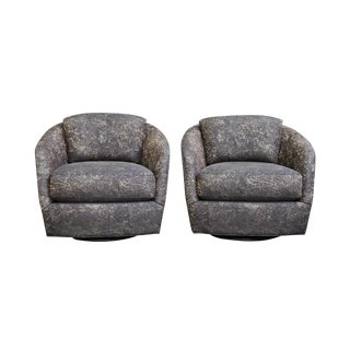 Contemporary Swivel Glide Club Chairs – A Pair
