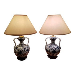 Blue & White Chinese Lamps - A Pair