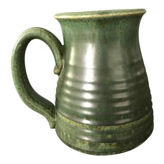 Green Ceramic Vase with Handle