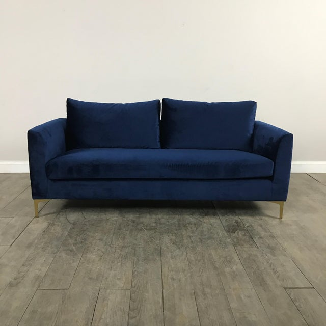Modern Royal Velvet Navy Blue Sofa - Image 2 of 11
