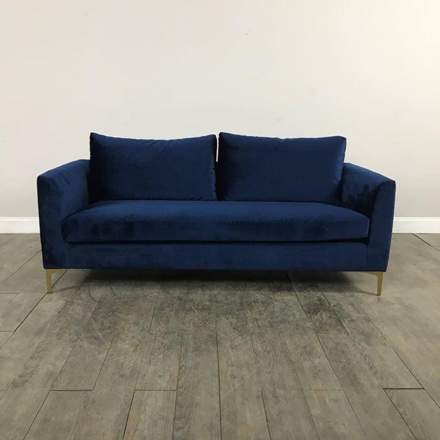 Modern Royal Velvet Navy Blue Sofa - Image 2 of 11