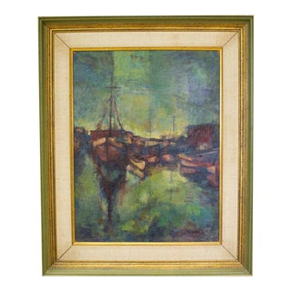 Oil Sailboats Painting by Friedman
