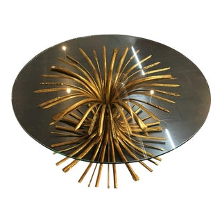 Golden Wheat Sheaf Glass Top Table