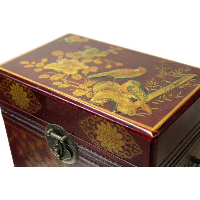 Chinese Red Leather Crane & Pine Motif Gift Box Set - 3 Pieces - Image 5 of 6