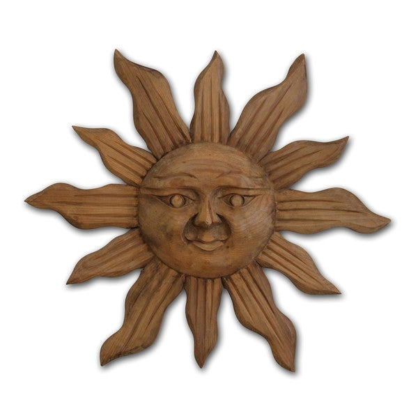 Large Handcarved Wood Sun Wall Art - Image 1 of 3