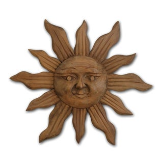 Large Handcarved Wood Sun Wall Art