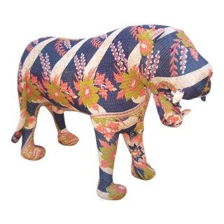 Vintage Kantha Quilt Tiger Sculpture