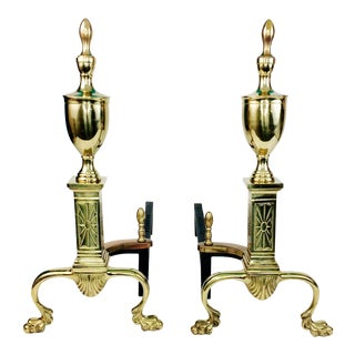 Antique Bennett Brass & Iron Fireplace Andirons - A Pair