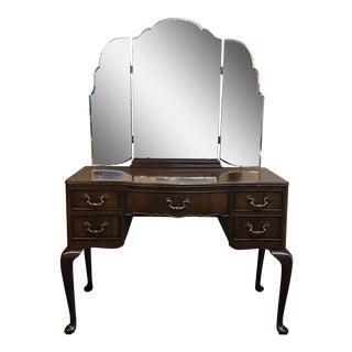 Vintage Vanity With Tri-Fold Mirror