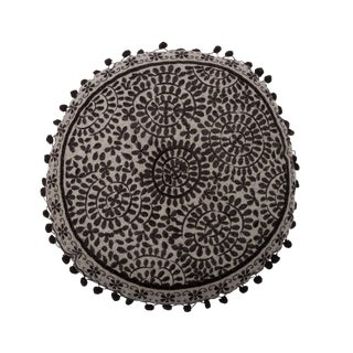 Medallion Silk Embroidered Pillow Pompom Trim