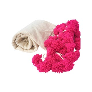 Moroccan Pink Braided Pom Pom Wool Blanket