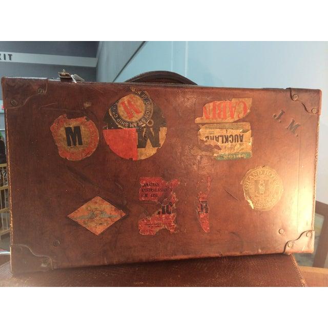 Antique Suitcase Bullock Hide Worldwide Traveler - Image 2 of 6