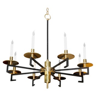 Customizable Paul Marra Design Greek Key Chandelier in Brass