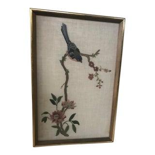 Embroidered Bird & Flower Art