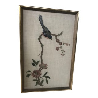 Embroidered Bird & Flower Art